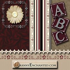 """GRANNY ENCHANTED'S FREE DIGITAL SCRAPBOOK KITS: """"Gracey"""" Free Scrapbook Kit with Alphabet, Papers, and Embellishments"""