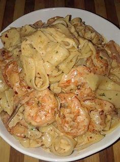 3 reviews · 40 minutes · Serves 4 · Creamy Shrimp Fettuccine Pasta With Homemade Alfredo Sauce. #food #healthyrecipes #healthy