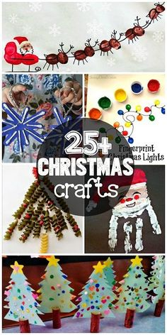 List of Christmas Crafts for Kids to Create #ArtProjects (Find reindeers, christmas trees, snowflakes, angels, Santa and more!)