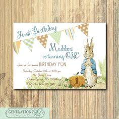 Fall Peter Rabbit Birthday Invitation / DIGITAL FILE /