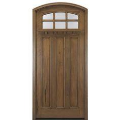 MAI Doors A908-ER Alpine Arts and Crafts Eyebrow Radius Top Rail 8-Lite with Dentil Shelf Door