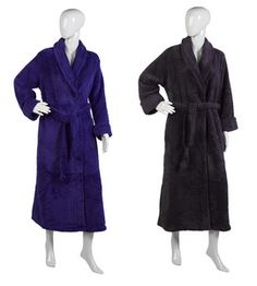 Ladies Luxury Textured Soft Fleece Dressing Gown S-XL (Various Colours)