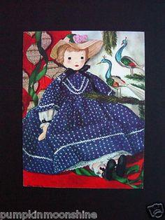 #G760- Vintage Xmas Greeting Card Telka Ackley Baby Doll in Blue & Peacocks (03/18/2013)