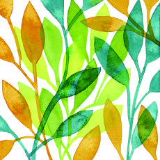 Randi Zafman/Gold & Yellow & Teal Slender Leaves represented by Liz Sanders Agency