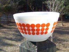 Vintage Pyrex Orange New Dots 1.5 Pint Mixing by AlloftheAbove, $21.00