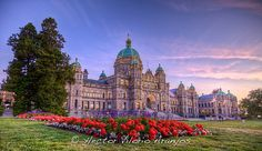 Parliament Building in Victoria, British Columbia looks especially lovely as dusk rolls in. #Victoria #British_Columbia #Canada #city #sunset