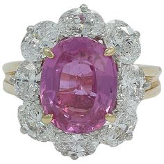 4.80 Carat Oscar Heyman Pink Sapphire and Diamond Ring F-G/VVS   From a unique collection of vintage more rings at https://www.1stdibs.com/jewelry/rings/more-rings/