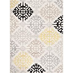 Toscana Geometric Cream Contemporary Area Rugs
