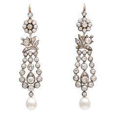 1stdibs | Antique Natural Pearl & Diamond Earrings. Just a friendly advice.  When looking to buy a good piece of jewelry do not base your choice on the size of the stone(s) or the highest price. A good make choice is when you look for the quality of the stone (s) and how it's looks with light and the elegance of the mount or setting. Look for perfection or for what could become a heirloom.