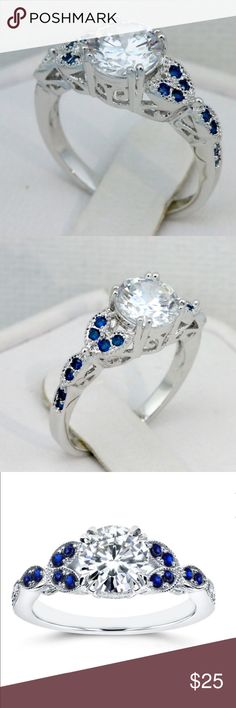 DAINTY AND DELICATE FLORAL NEW DAINTY AND DELICATE FLORAL RING! HIGH QUALITY MATERIALS IN THIS RING THE CRAFTSMAN SHIP AND DETAIL ARE JYST BEAUTIFUL! 4AAAA BLUE AND CLEAR ZIRCON SET IN 18K GOLD FILLED SIZE 8 APRICOT JEWELRY Jewelry Rings