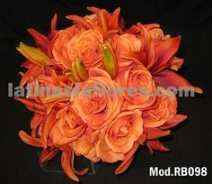#orange roses and lilies #wedding #bouquet