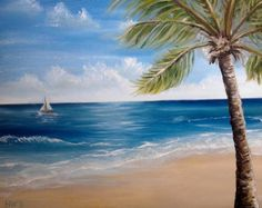 Palm Tree Original Oil Painting Southernmost Point, Key West, Beach, Ocean, Tropical, Sailboat 16x20 by Heather Wallace