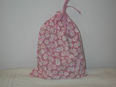 Medium Pink Daisies Wrapping Bag with pink drawstring by CrazyAuntBettyBags on Etsy