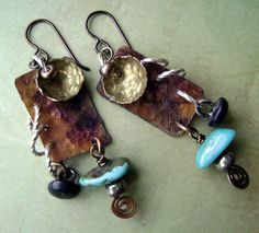 Mixed Metal Turquoise Antique Button Assemblage dangle earrings by Anvil Artifacts $58.00