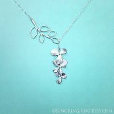 White Gold branch and Orchid flower necklace -  Adjustable sterling silver necklace with extension by peep
