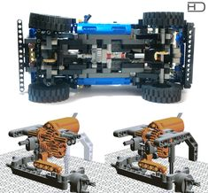 I like these old-school tires so much! Input: Two M motors for drive, one for steering. powered by Li-Po BB. Result: Too weak and slow (when compared with my Wrangler :D ) to be worth of making a video of it. Solution: Maybe larger motor or on Technique Lego, Lego Truck, Rc Model, Lego Moc, Legoland, Lego Creations, Lego City, Legos, Old School
