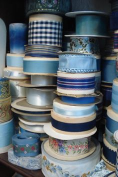 Any and all kinds of ribbon make me HAPPY! Lots of lovely blue vintage ribbon! Im Blue, Love Blue, Blue And White, Color Celeste, Bleu Indigo, Passementerie, Himmelblau, Lace Ribbon, White Ribbon