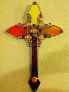 Stained Glass Warm Colors Country Cross by eljamongrande on Etsy