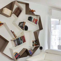The choice of wall shelf designs is quite huge, so you will for sure find the right design for your home (Modern Wall Shelves That Will Steal Your Heart). Luxury Furniture, Cool Furniture, Furniture Design, Unique Bookshelves, Bookcases, Metal Bookcase, Interior And Exterior, Interior Design, Living Room Shelves
