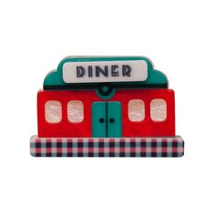 """Limited Edition Dolly's Diner resin brooch (American Diner Collection - Autumn 2015). """"Billy Bob Ricky Kate and Jess. They come for the huckleberry pie but stay for the company."""""""