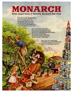 1948 Monarch Foods ad. #vintage #1940s #lion #ads