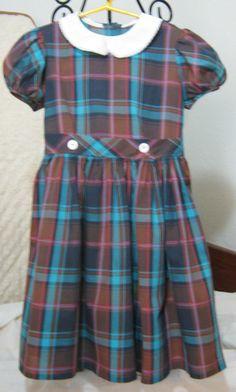 Vintage little girl's plaid school dress, 1960's.
