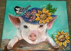 Mouse over image to zoom                                                    Have one to sell? 	Sell it yourself       ORIGINAL ACRYLIC #PAINTING ON CANVAS ART MISS SUNNY PIG FOLK FARM ANIMALS CHILD
