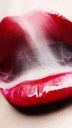 Sexy Red Lip Smoke Mounth #iPhone #5s #wallpaper