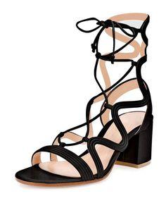 Gianvito Rossi Loop-Caged Low-Heel Gladiator Sandal in Black