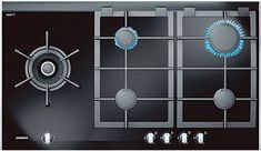 The corner gas hob brings total versatility into your kitchen in both, flexibility of where you can install this 6 burner hob as well Read Cool Kitchen Gadgets, Cool Kitchens, Kitchen Vent, Kitchen Appliances, Downdraft Extractor, Electric Deep Fryer, Heating Element, Kitchen Design, Glass