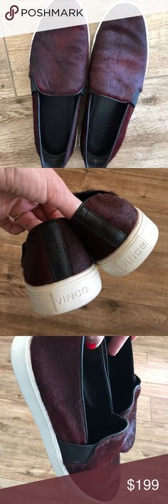 Vince Berlin Calf-Hair slip-ons Super soft Vince slip-ons. Worn once and scuffed up a bit on the bottom. No other flaws. SO soft and comfortable. Sold out everywhere  Vince Shoes