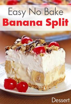 Easy No Bake Banana Split Dessert Recipe. Easy No Bake Banana Split Dessert Recipe. This creamy Banana Split dessert is a family favorite! Delicious, rich and creamy, with all the ingredients you love in a banana split . No Bake Banana Split Dessert Recipe, Banana Dessert Recipes, Easy Desserts, Delicious Desserts, Cake Recipes, Quick Dessert, Dessert Food, Easy Sweets, Easy Baking Dessert Recipes