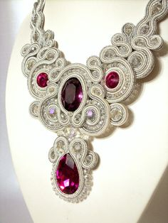 Items similar to Soutache necklace Wedding Soutache jewelry Bridal necklace Bride necklace white necklace Soutache jewelry Swarovski crystals fuchsia on Etsy Soutache Pattern, Soutache Tutorial, Wedding Jewelry Sets, Bridal Jewelry, Beaded Jewelry, Handmade Necklaces, Handmade Jewelry, Bride Necklace, Soutache Necklace