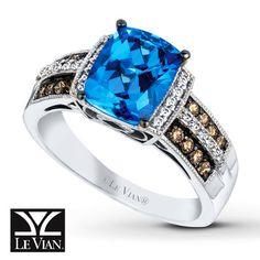 LeVian Blue Topaz Ring 1/4 ct tw Diamonds 14K Vanilla Gold