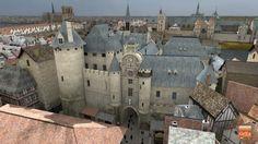L'entrée du Châtelet se trouvait du coté de la rue Saint-Denis. Au Moyen Age, il s'agissait d'un sinistre bâtiment de Justice aux cachots redoutés. A l'arrière plan, sur la gauche de l'image, apparaît Notre-Dame de Paris. Des images de Paris au Moyen Age