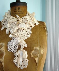 Crochet Lace Doily Scarf with Shabby Silk Ribbons - Talullah ❥