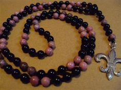 6mm Rhodonite and Onyx with a Fleur de lis Charm, Hand Knotted on Black Silk by Mother Earth Malas - Malas on Silk