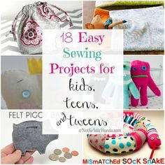18 Easy Sewing Projects for Kids, Teens, and Tweens. 18 Easy Sewing Projects for Kids, Teens, and Tweens. Easy Kids Sewing Projects, Begginer Sewing Projects, Sewing Machine Projects, Sewing Projects For Beginners, Sewing For Kids, Sewing Tutorials, Sewing Hacks, Sewing Crafts, Sewing Ideas