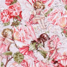 Michael Miller fabric Sweet Garden flower fairies  cute pink fabric with flower fairies and pink roses from the USA
