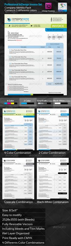 Professional Invoice InDesign Template Set - Proposals & Invoices Stationery