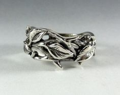 Sterling Silver Leaf and Twig Band Ring, Tree Branch Ring, Leaf Ring, Twig Ring, Twig and Leaf Ring, Twig Wedding, Branch  Band