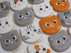Cat Face Kitten Face Sugar Cookies - Cat Cookies, Kitten Cookies, Birthday Party Favors, Cat Lover, Decorated Sugar, Custom Cookies                                                                                                                                                                                 More