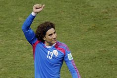Guillermo Ochoa - Who would've thought that Mexican keeper Guilermo Ochoa is a free agent? After 3 seasons with Ajaccio, offers from other clubs were limited, but he will have lots including some from Premier League teams. The 28 year olds agility and reflexes were shown firstly in the Brazil game where he made probably the save of the tournament to deny Neymar giving Brazil the lead. Another outstanding performance against Netherlands, saving Stefan de Vrij's 4 yard shot. World Cup 2014, Fifa World Cup, Premier League Teams, Word Cup, 28 Years Old, Free Agent, Neymar, Football Players