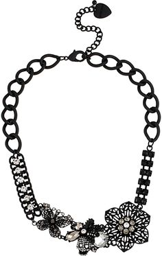 BLACKOUT FLOWER CLUSTER CHAINED NECKLACE BLACK