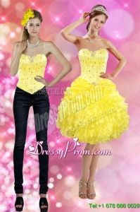 Pretty 2015 Sweetheart Yellow Prom Skirts with Beading and Ruffles