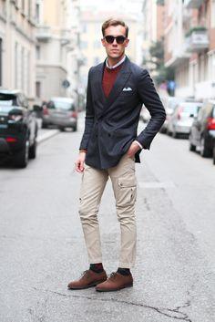 Tailor made jacket  Siviglia sweater  Vintage cargo pants  Rinaldo Ferrari shoes  Bottega Veneta document holder