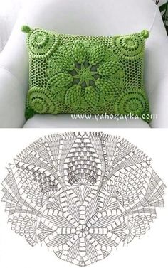 Letras e Artes da Lalá: crochet pillow Crochet Doily Diagram, Crochet Edging Patterns, Filet Crochet, Crochet Motif, Crochet Stitches, Cushion Cover Pattern, Crochet Cushion Cover, Crochet Cushions, Cushion Covers