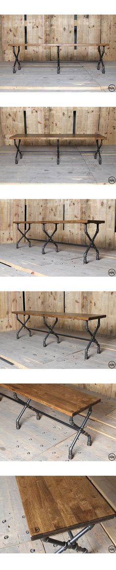 42 Best Ideas For Kitchen Industrial Rustic Pipe Table Pipe Furniture, Industrial Furniture, Furniture Projects, Home Projects, Furniture Design, Pipe Decor, Galvanized Pipe, Pipe Table, Wood Table