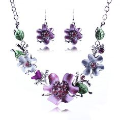 Exquisite Flower Leaf Design Jewelry Set Earring Necklace