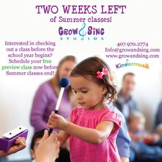 We have only 2 weeks left of Summer #kindermusik so come enjoy our exciting, loving classes filled with possibilities, connections and lifetime memories! All families are welcome to one free preview class so they experience our magic firsthand, and prepare for Fall registration (which is open!) www.growandsing.com